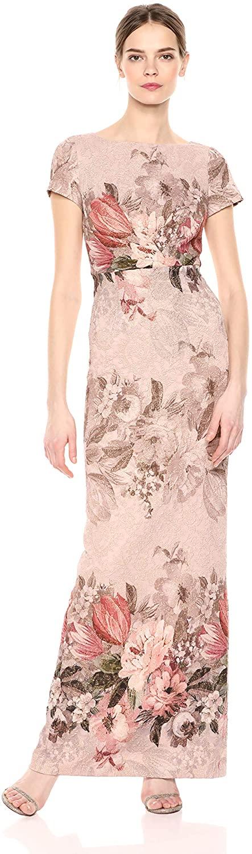 Adrianna Papell Womens Border Print Long Dress