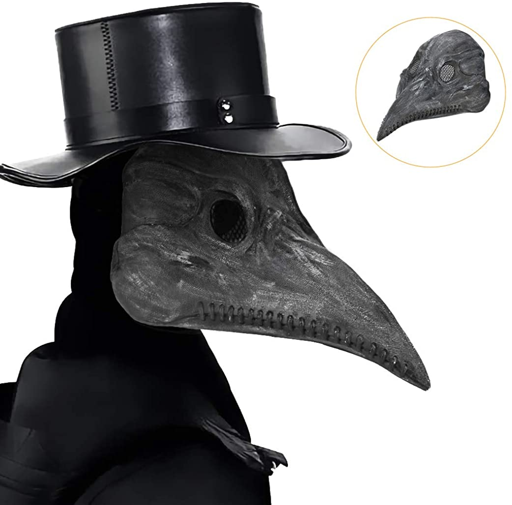 BicycleStore Plague Doctor Mask, Black Steampunk Bird Beak Masks Full Face Latex Long Nose Animal Mask Halloween Cosplay Party Props Costume Accessories for Masquerade Carnival Party, Medium