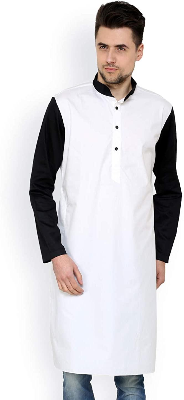 Dharma Overseas Indian Men's Cotton Kurta Shirt Wedding Wear Bohemian Tunic Solid White Color Loose Fit Tunic Plus Size