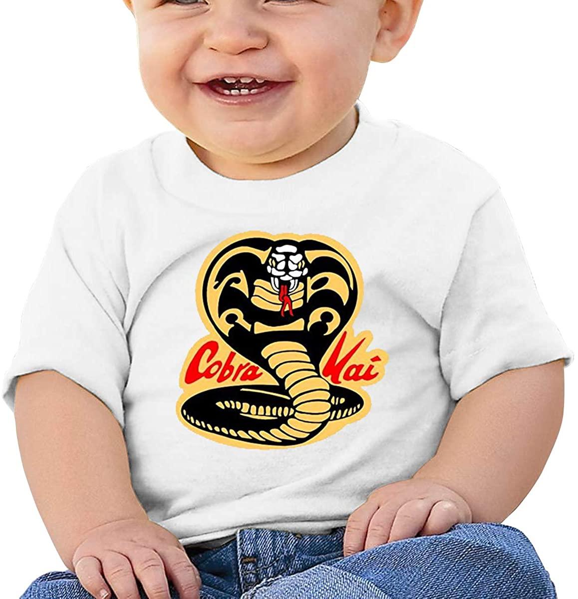 6-24 Months Boy and Girl Baby Short Sleeve T-Shirt Cobra Kai Karate Dojo Elegant and Simple Design White