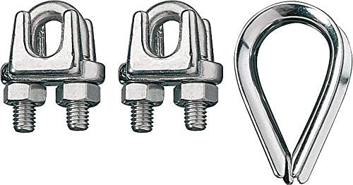 Ronstan Wire Rope Clip and Thimble Kit, 3/32 In - ID003404-02 Pack of 5