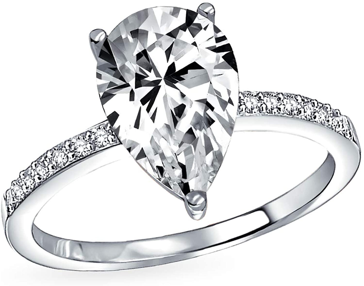 2.5CT Teardrop Pear Shape Solitaire AAA CZ Engagement Ring 1MM Band Cubic Zirconia Rose Gold Plated 925 Sterling Silver
