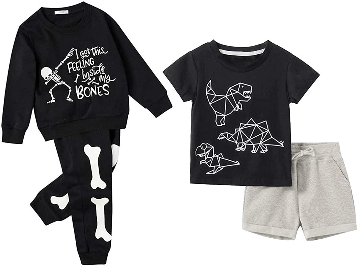 Gorboig Toddler Boy Clothes 5-6Y/5T Summer Outfits Short Sleeve Dinosaur Clothing T-Shirt&Shorts & Hallowen Pajamas Set
