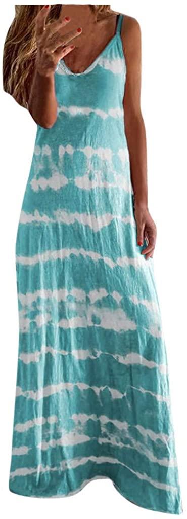 KESEELY Womens Dresses Casual Summer Sundress Sleeveless V-Neck Gradient Color Loose Maxi Long Dress Tunic Tank Dress