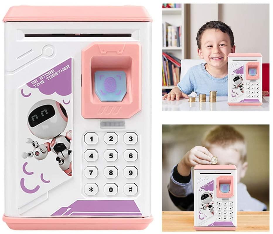 LIBWX Box Fingerprint Coin Money Saving Box ATM Bank Safe Box Deposit Banknote Electronic Piggy Bank ATM Password Money,Pink