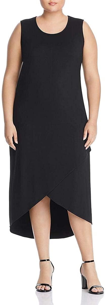 NIC+ZOE Womens Plus Ease Faux Wrap Scoop Neck Maxi Dress