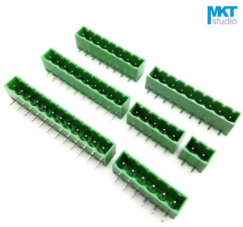 Davitu Terminals - 100Pcs 15P 5.08mm Pitch Cover Sides Right Angle Pin Male Wire Terminal Block Connector