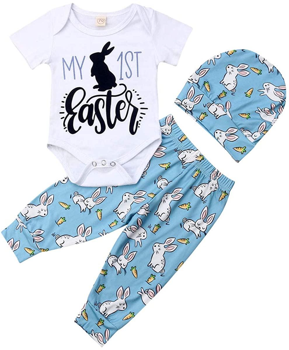 3Pcs/Set Infant Baby Girl Boy My 1st Easter Bodysuit Romper+Bunny Pants+Hat Easter Outfit