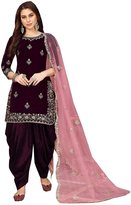 Delisa Fashion New Formal and Party wear/Ethnic wear Velvet Patiala Salwar Kameez for Women 1800