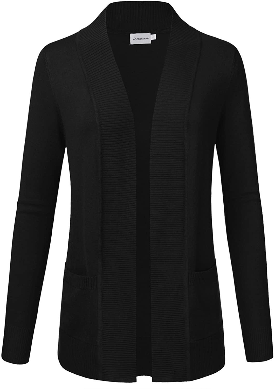 JJ Perfection Women's Open Front Knit Long Sleeve Pockets Sweater Cardigan Black 1XL
