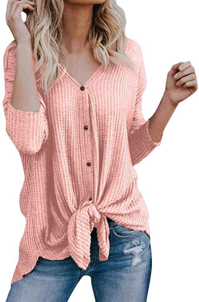 UOKNICE Knitwears Casual,Gift Womens Loose Knit Tunic Blouse Tie Knot Henley Tops Bat Wing Plain Shirts