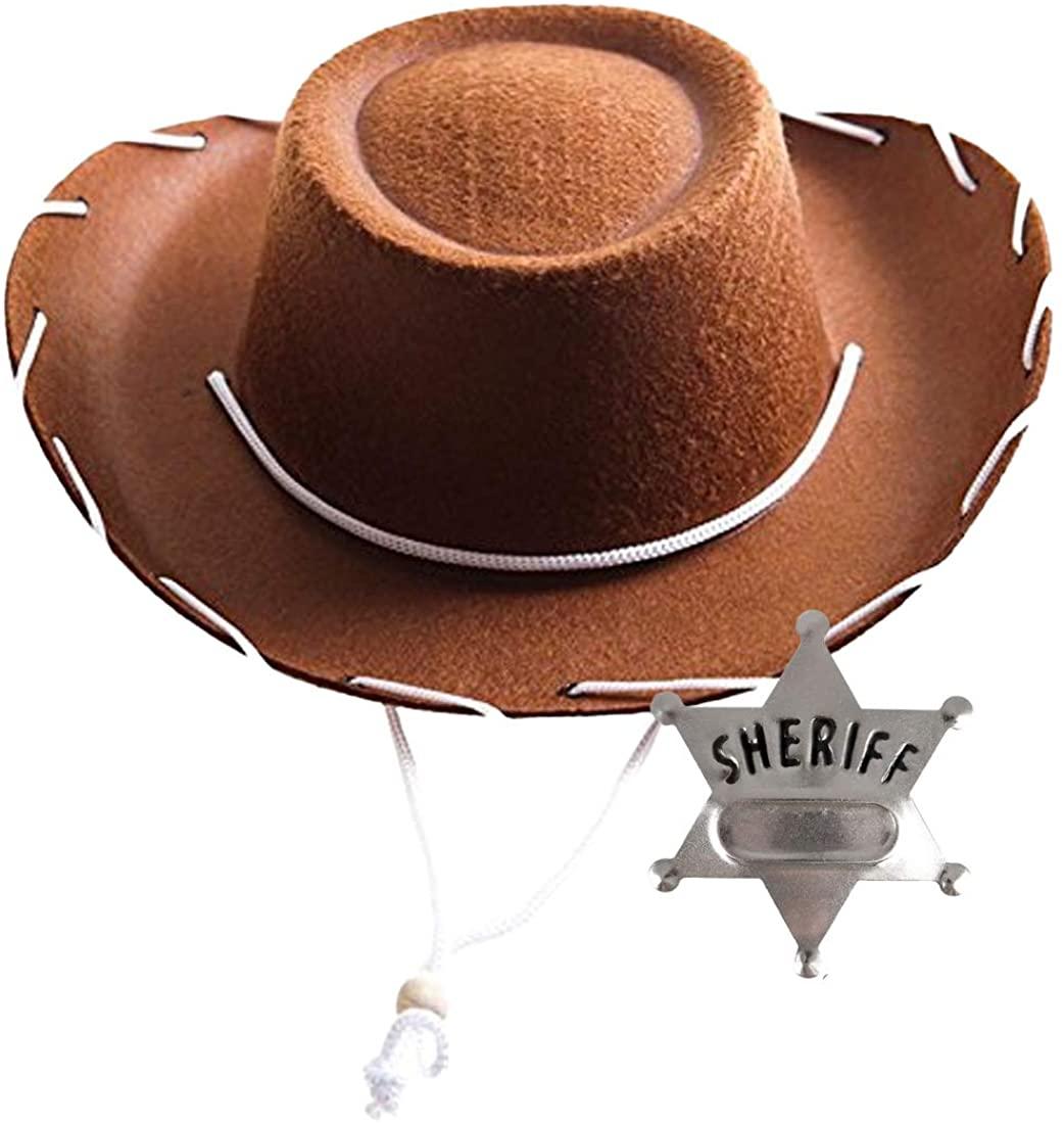 InPrimeTime Childrens Cowboy Hat with Metal Sheriffs Badge Bundle