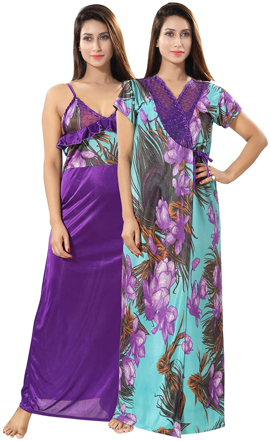 Be You Multicolor Printed Women Satin Nighty Set