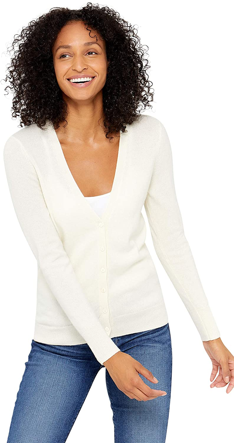 State Cashmere Women's 100% Pure Cashmere Button Front V-Neck Cardigan Long Sleeve Sweater