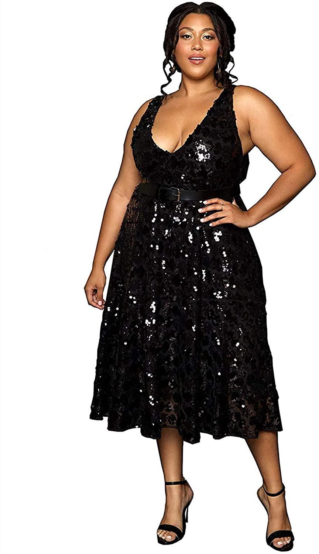 Astra Signature Women's Plus Size Sequin Cocktail Dress Sexy V Neck A Line Black Glitter Dress