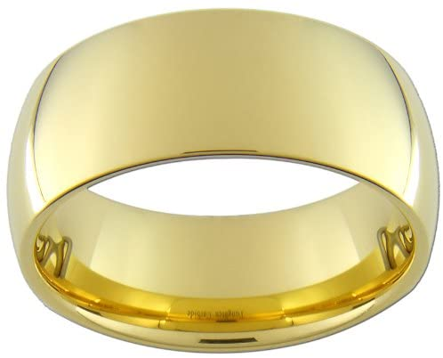 Custom Jewelry 9mm Gold Color Tungsten Carbide Ring (Full and Half Sizes 5-15)