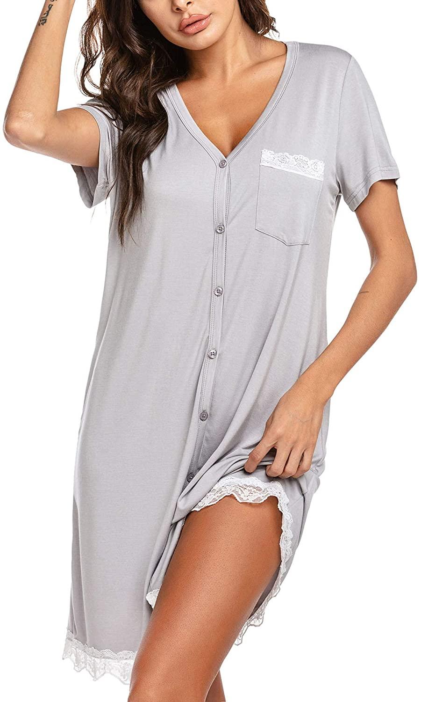 Ekouaer Women's Nightgown Tee Short Sleeve Sleep Nightshirt with Front Pocket