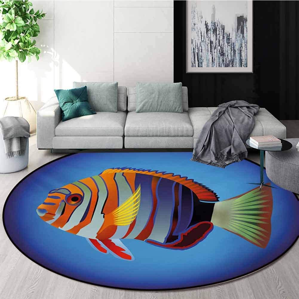 Marine Modern Machine Washable Round Bath Mat,Tropical Exotic Ocean Sea Fish with Colorful Fins and Underwater Nautical Image Non-Slip Living Room Soft Floor Mat,Diameter-24 Inch