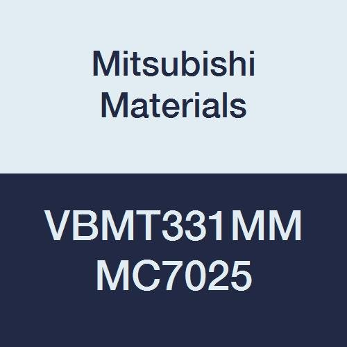 Mitsubishi Materials VBMT331MM MC7025 VBMT Carbide VB Type Positive Turning Insert with Hole, Coated, Rhombic 35°, Grade MC7025, 0.375