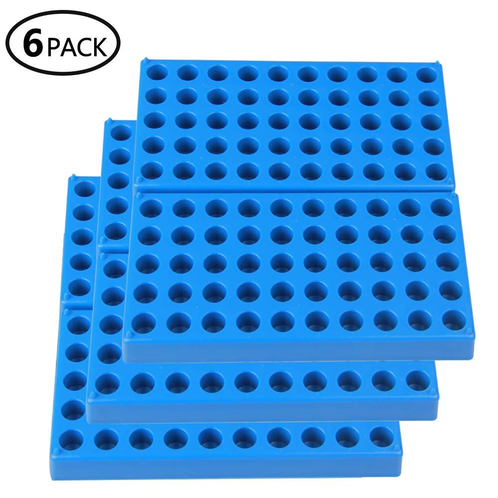 6 Packs Vial Rack, Single Blue Holds 50 Standard 12 mm 2 mL vials - Stackable Test Tube Vial Rack Centrifuge Tubes Rack