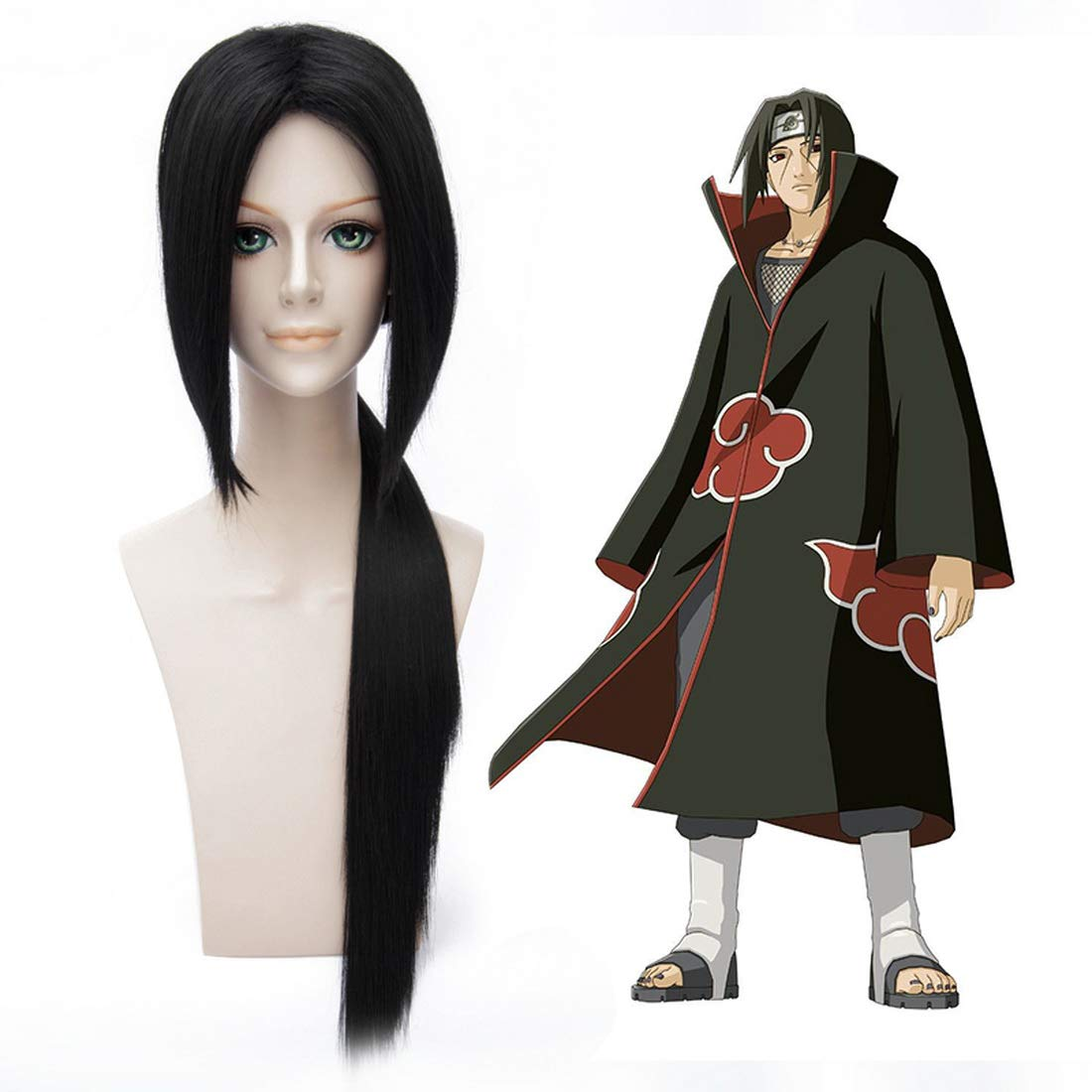 HOOLAZA Black Long Straight with a Pigtail Wig Naruto Uchiha Itachi Cosplay Wig