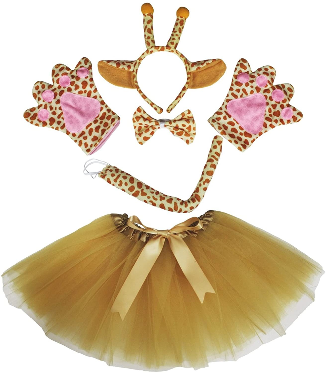 Giraffe Headband Bowtie Tail Gloves Gold Tutu 5pc Girl Costume Dress for Party (Brown)