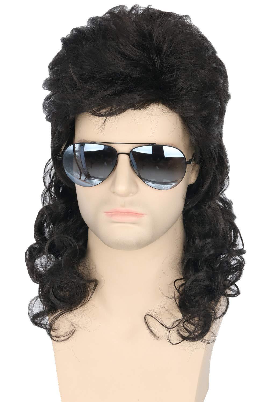 Topcosplay Men Wigs 80s Mullet Wig Black Curly Male Wig Halloween Costumes Punk Rocker Wig Long