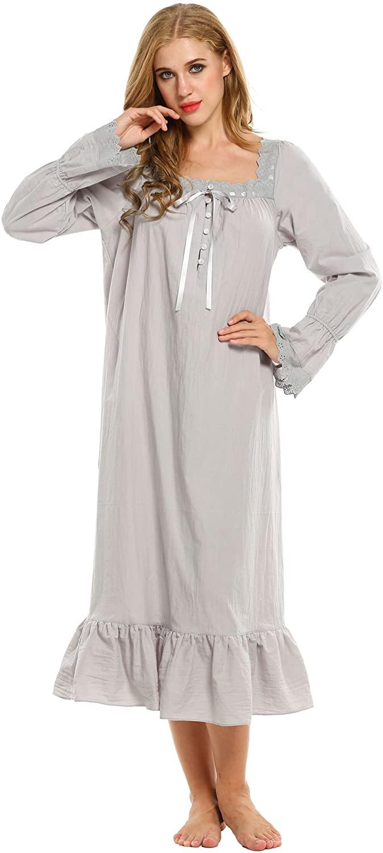 Avidlove Women's Cotton Long Sleeve Sleepwear Victorian-Style Nightgown