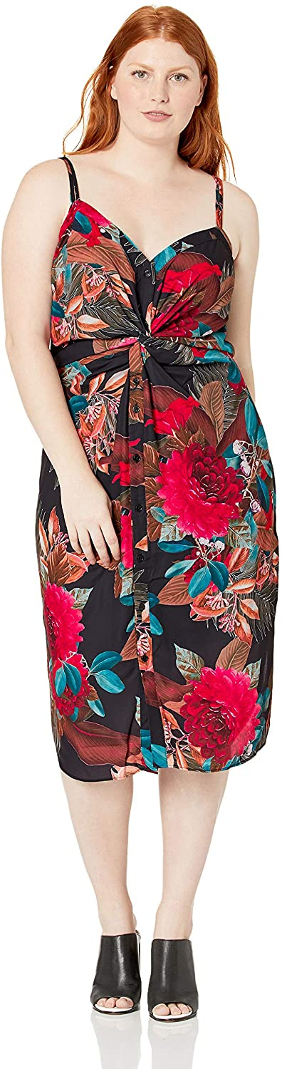 City Chic Women's Apparel Women's Plus Size V Neck Print Dress with Elasticated Back