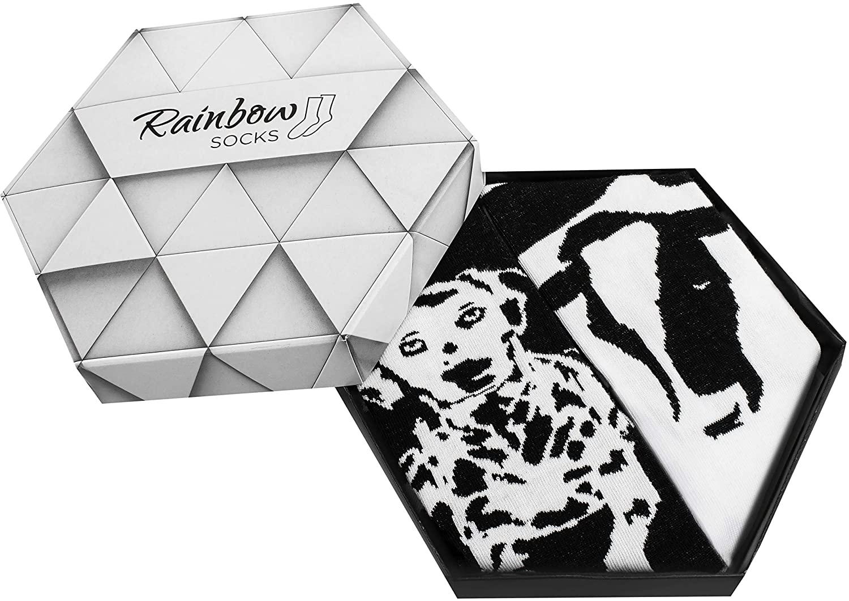 Rainbow Socks - Men Women Novelty Black and White Animals Socks Box - 2 Pairs