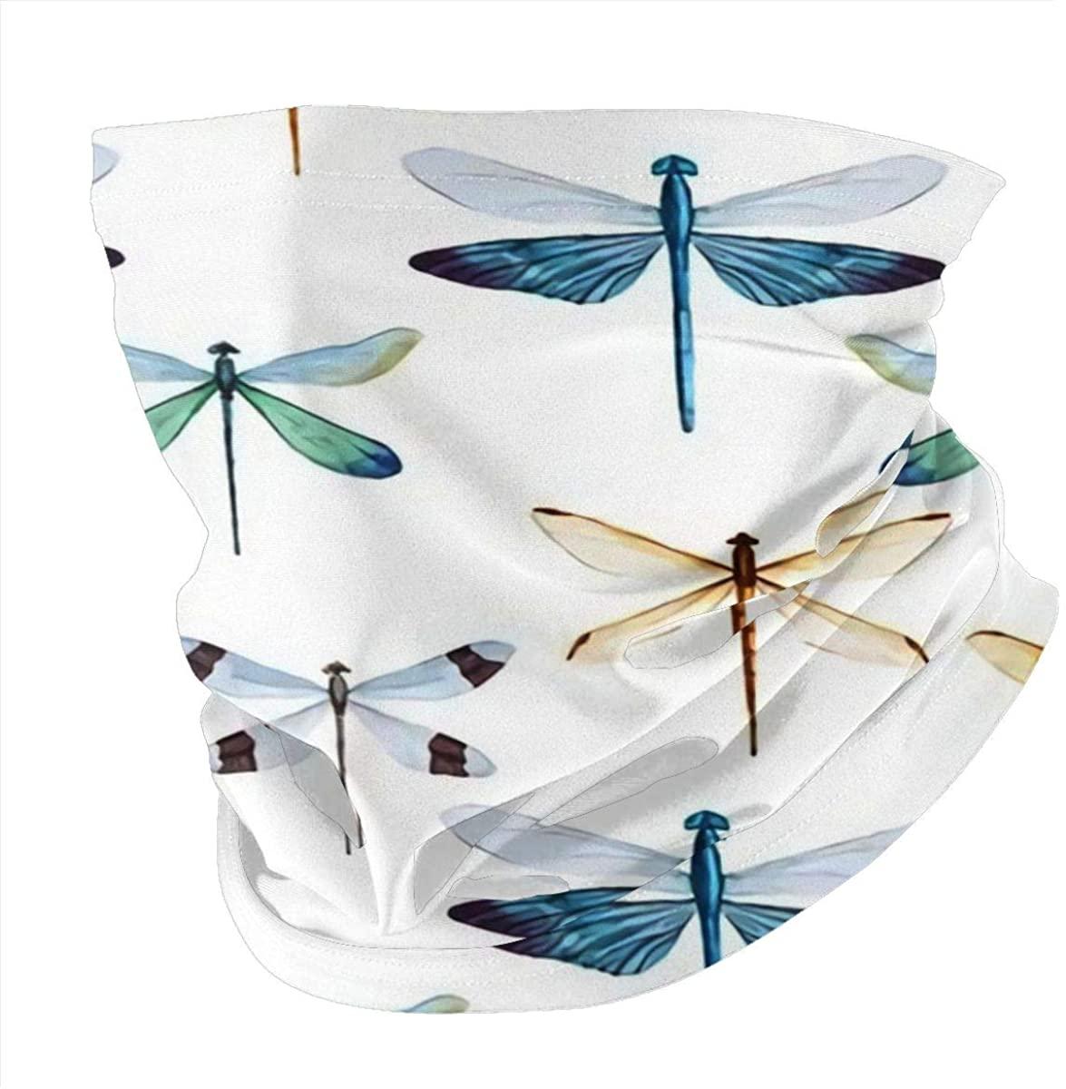 Face Scarf Bandana Beautiful-with-Nice-Watercolor-Dragonflies Reusable Anti Dust Scarfs for Women Men Outdoor Neck Gaiter Headwear Black