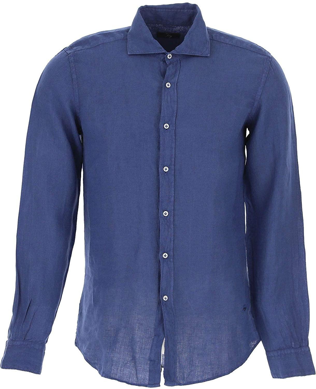 fay Luxury Fashion Man NCMA138259THTKU201 Blue Linen Shirt | Season Outlet