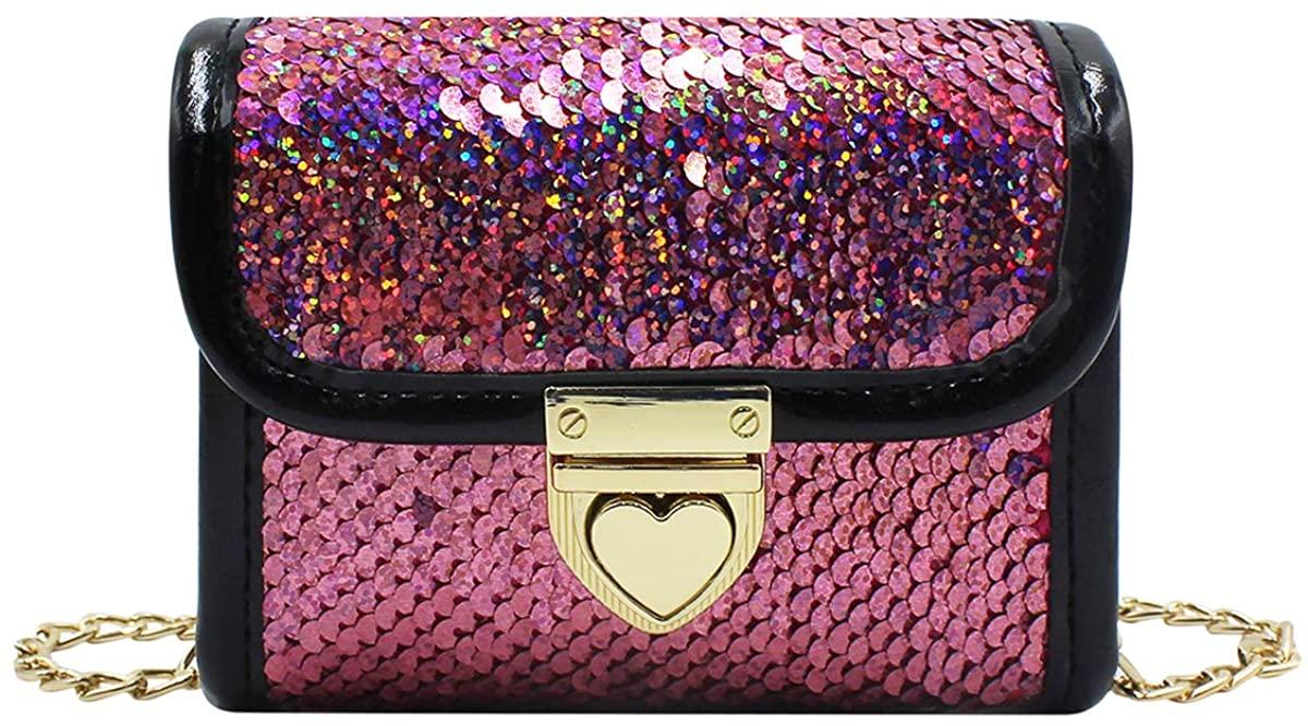 Orityle Little Girls Crossbody Purse Sparkly Glitter Flip Sequins Handbag Mini Satchel Toddler Kids Shoulder Bag