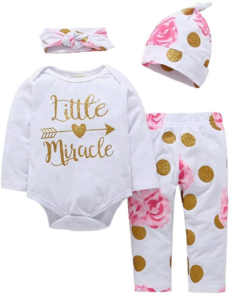 Baby Girl 4pcs Golden Little Miracle Long Sleeve Romper+Golden Dot Floral Print Pants+Headband+Hat