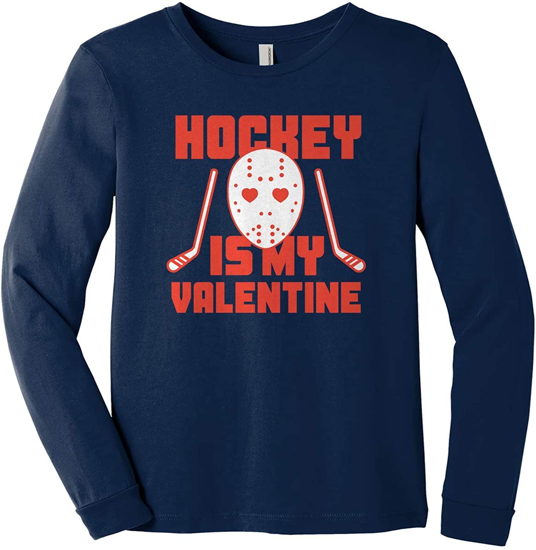 Threadrock Kids Hockey is My Valentine Youth Long Sleeve T-Shirt