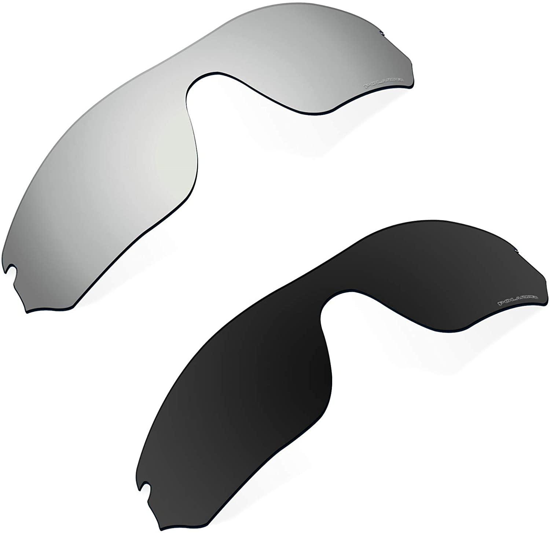 Polarized Replacement Lenses Compatible with Oakley RadarLock Edge Sunglass - Black+Silver Chrome