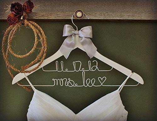Encounter168 Wedding Hanger Two Line Hanger Personalized Bridal Hanger Wedding Dress Hanger Custom Wire Name Hanger Bridal Gift Gift for Bride