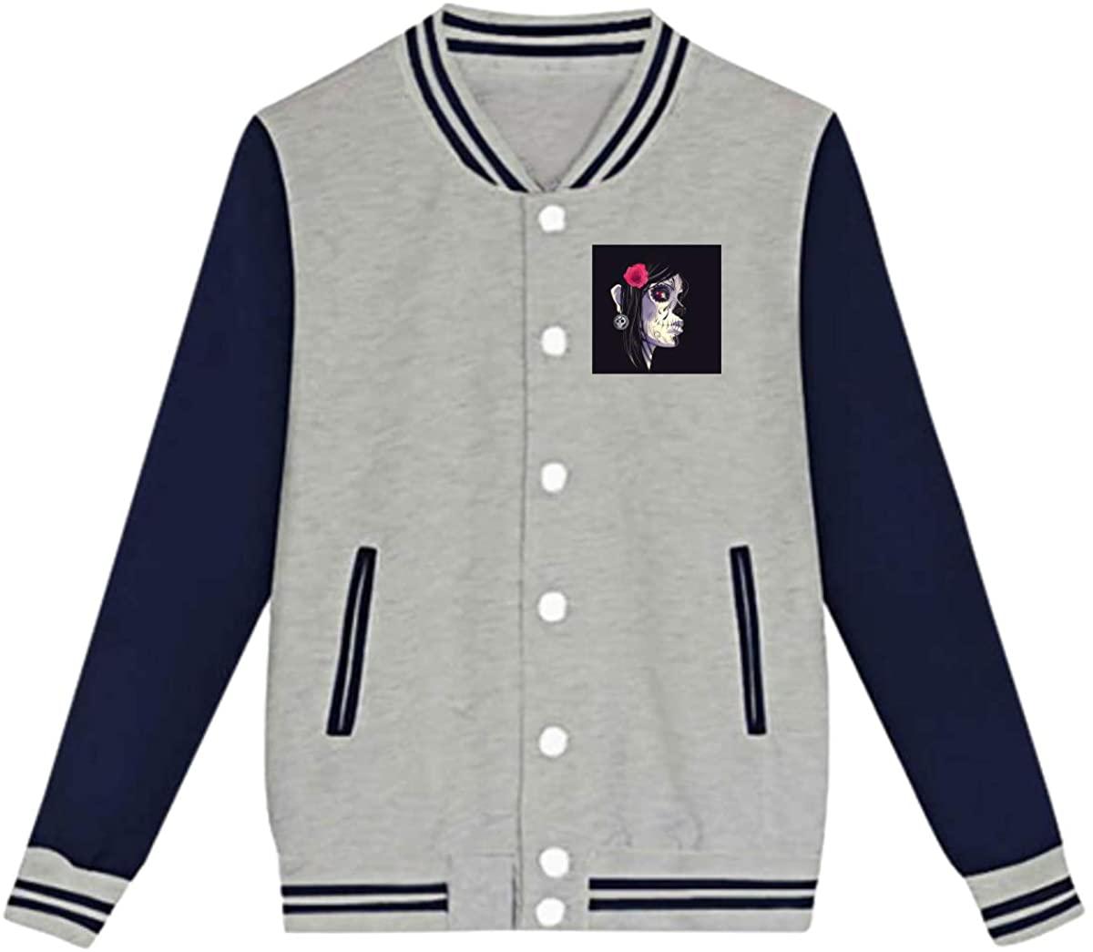 Skull Rose Women Face Baseball Jacket Custom Fleece Varsity Uniform Sport Coat for Youth