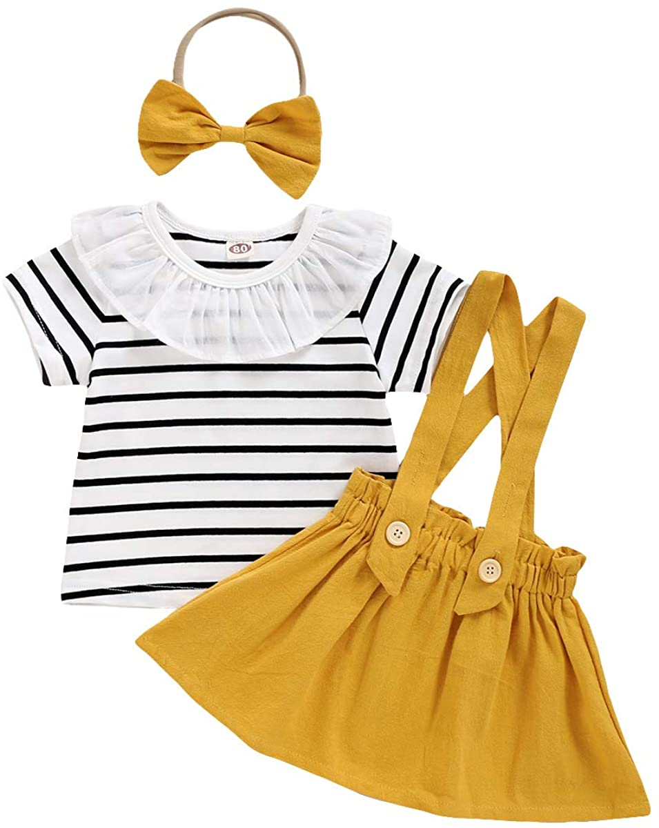 Toddler Girls Outfits Baby Girl Suspender Skirt Long Sleeve T-Shirt Clothes Set Overall Strap Skirt Jumpsuit Kids Dress
