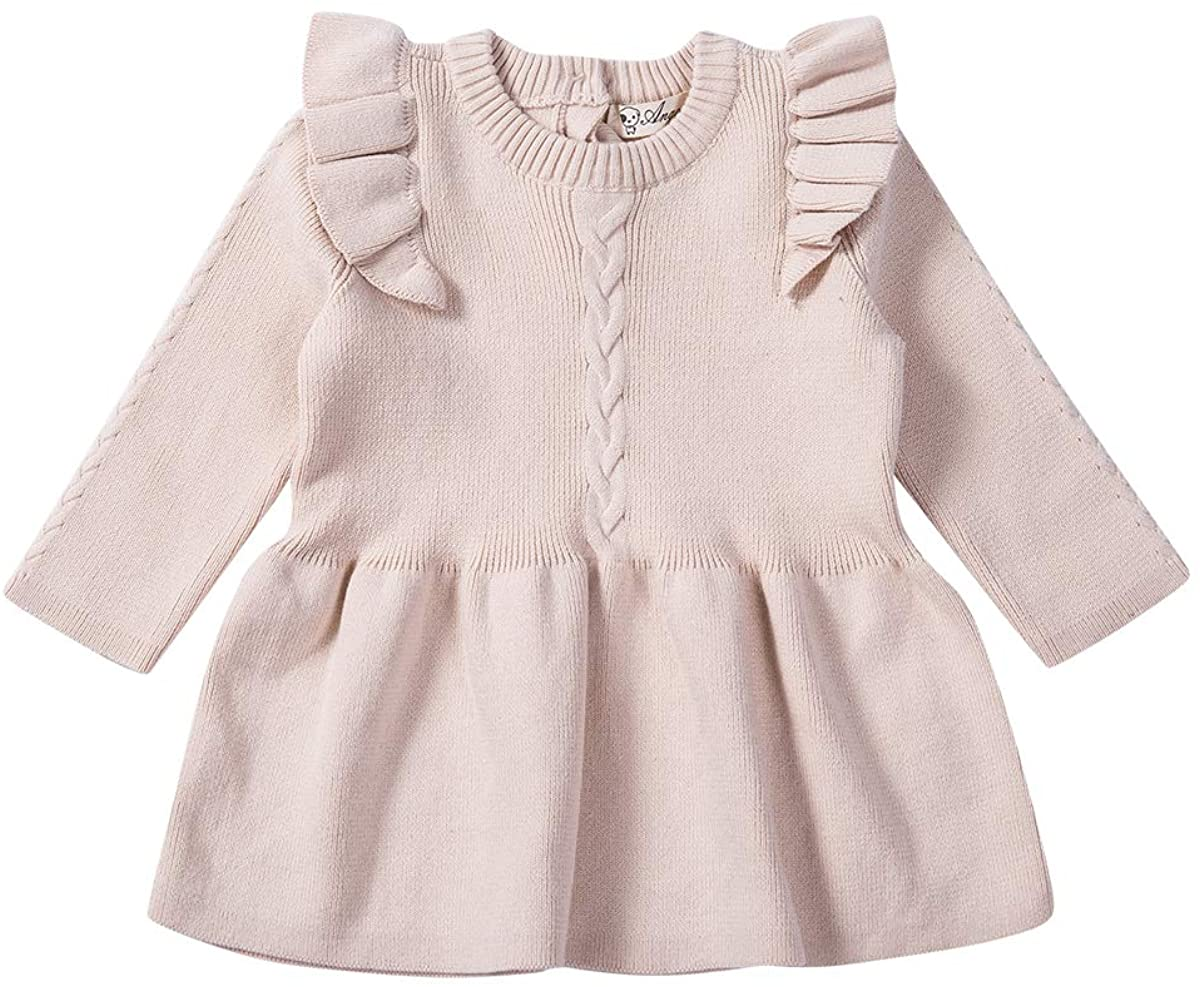 Toddler Baby Girls Solid Cotton Knitted Sweater Dress Long Sleeve Ruffle Fall Winter Warm Chic Top Dresses Outfits 0-5Y