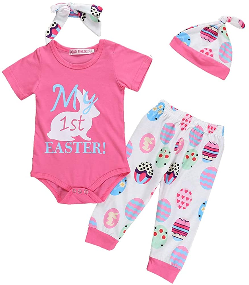 Baby Girl My 1st Easter Clothes Newborn Girl Bunny Bodysuit Romper+Eggs Pant Outfit Set