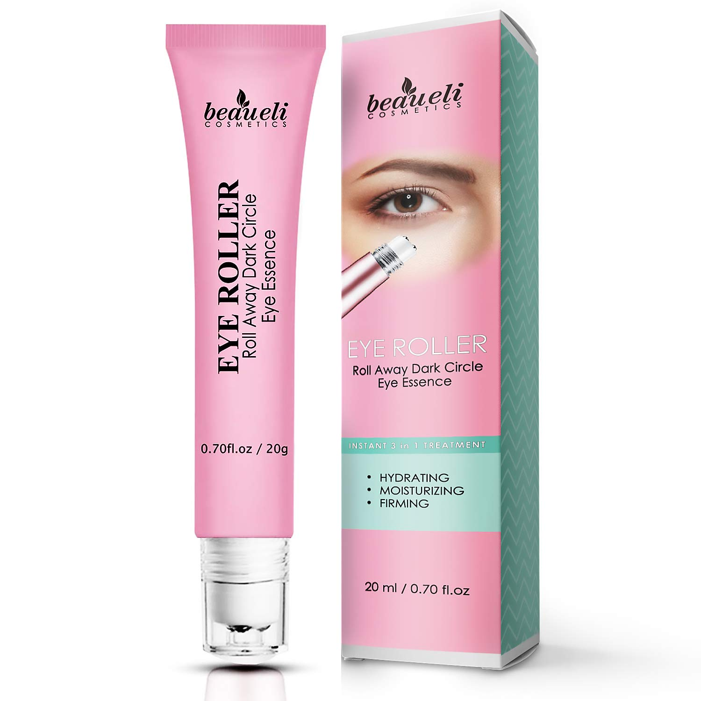 Eye Serum & Eye Roller for Anti Aging Skin Care with Hyaluronic Acid Niacinamide Peptide Dark Circles Puffiness Under Eye Bags Wrinkles Eye Cream Massager 0.7 fl.oz by beaueli