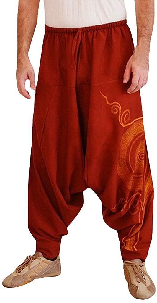 Men's Harem Pants Baggy Bloomers Yoga Dance Beach Pants Leisure Pants Aladin Pants Retro Print Harem Pants