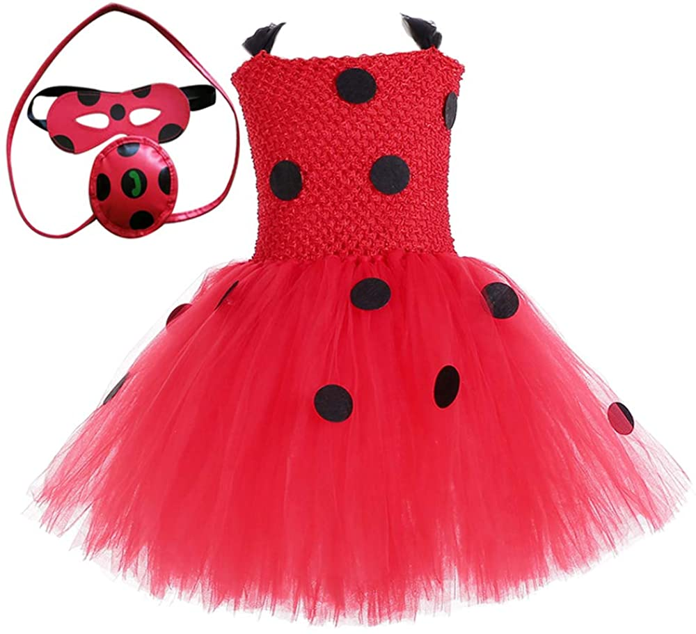 O'COCOLOUR Superhero Ladybug Costume for Girls Kid Halloween Ladybug Dress Up Outfits Birthday Gifts Party Role Play