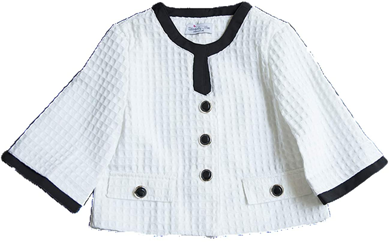 CHOCOKIDS Girls Fashion Square Jacquard Outer with 3/4 Bell Sleeves on White BSP0137