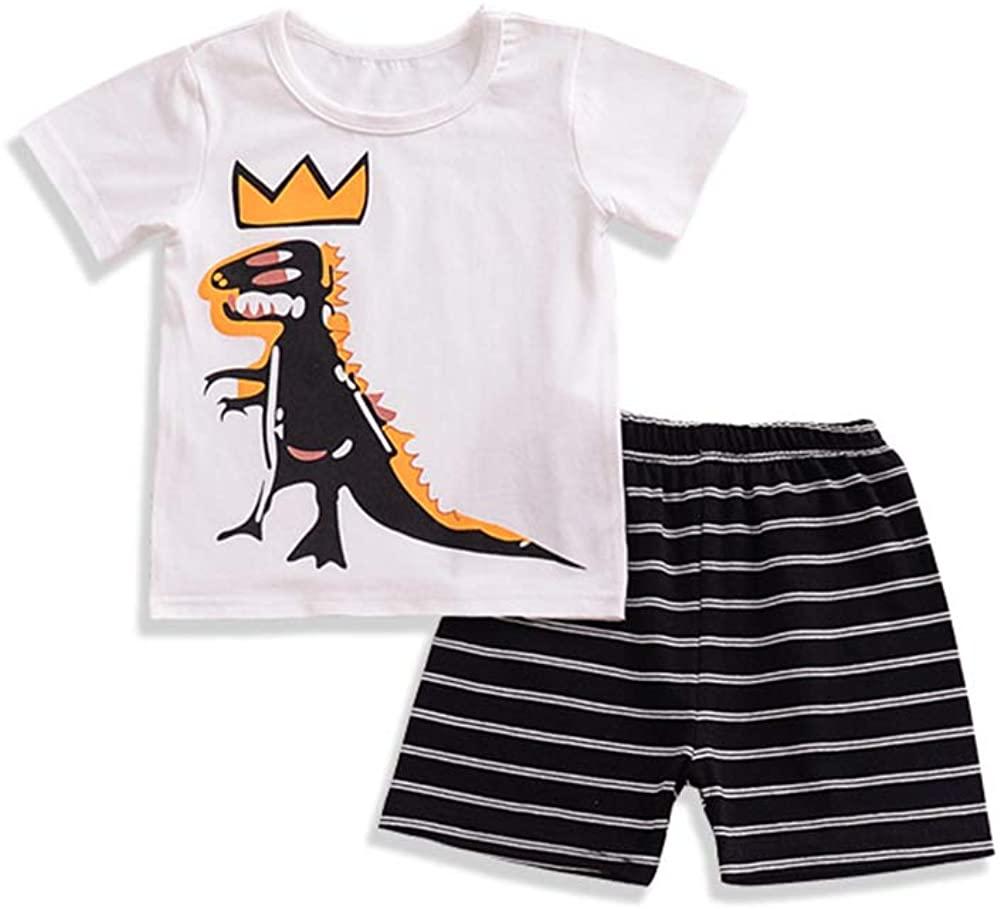 AYIYO Toddler Kids Boys Dinosaur Print T-Shirt Top + Striped Color Grid Shorts Pants Summer Outfit Set