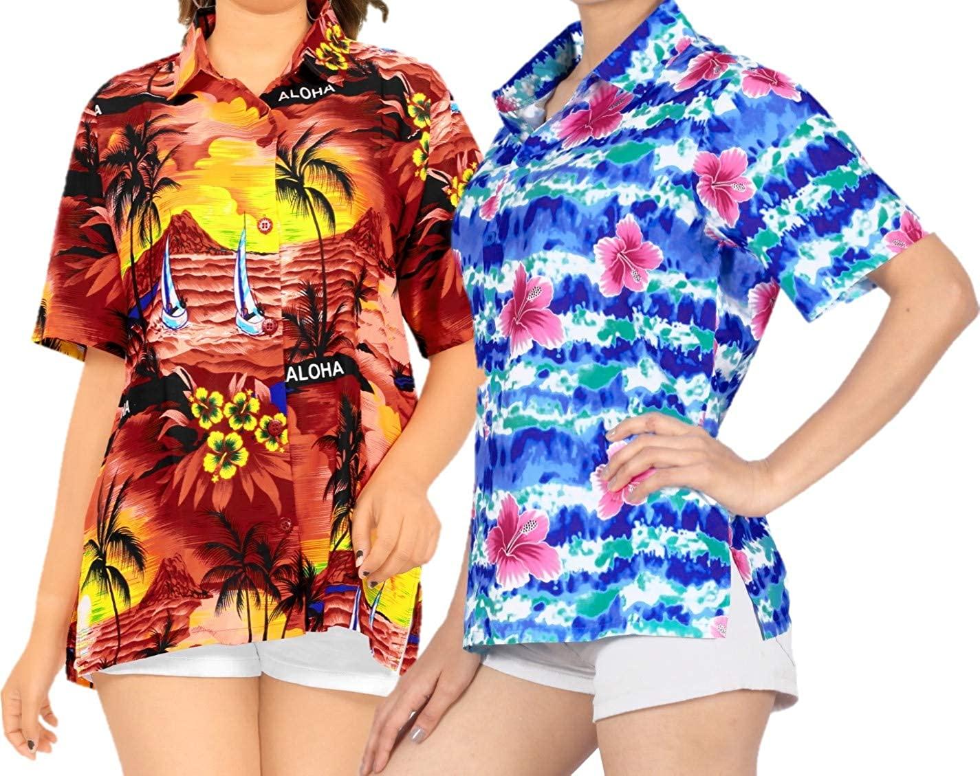 LA LEELA Women's Golf Hawaiian Blouse Shirt Beach Camp Aloha Shirt XXL Work from Home Clothes Women Blouse Pack of 2