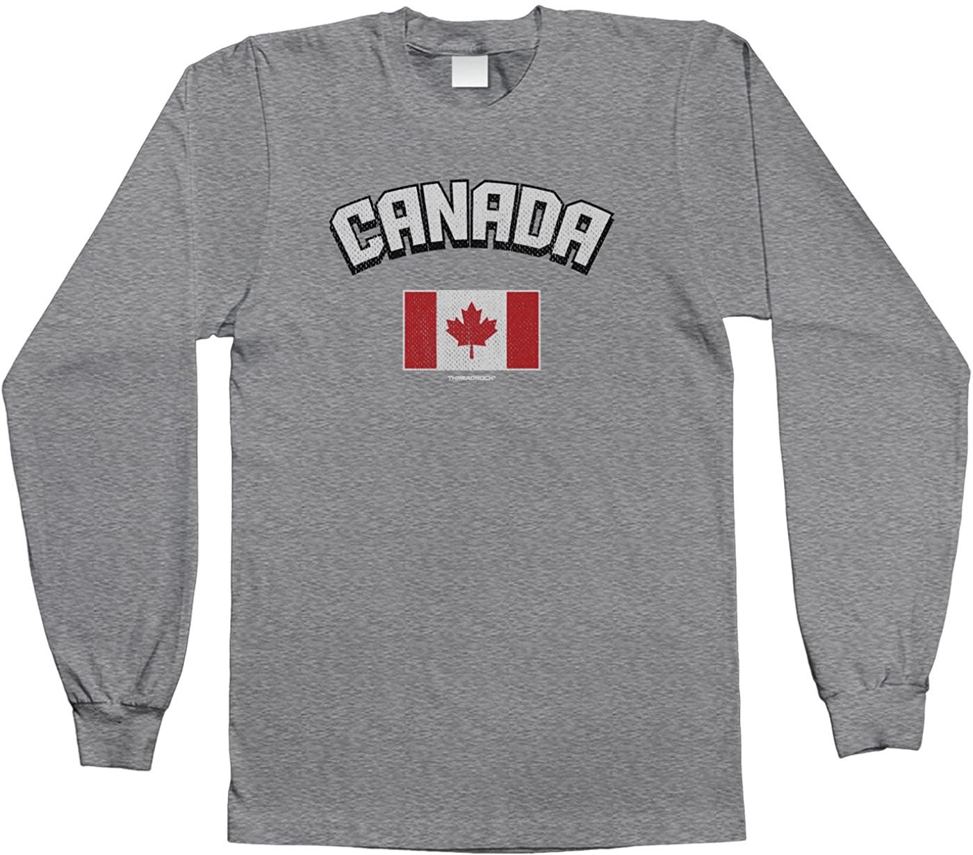 Threadrock Big Boys Canada Canadian Flag Youth Long Sleeve T-Shirt