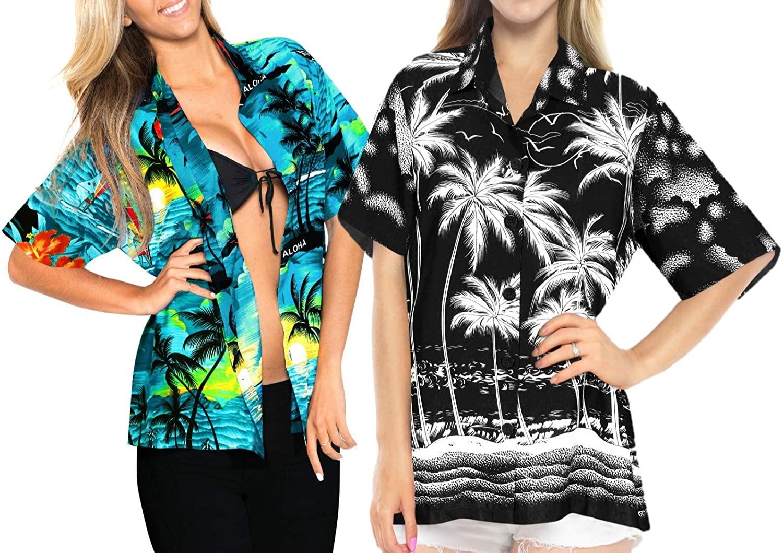 LA LEELA Women's Hawaiian Blouse Shirt Short Sleeves Nightwear Shirt Work from Home Clothes Women Beach Shirt Blouse Shirt Combo Pack of 2 Size L