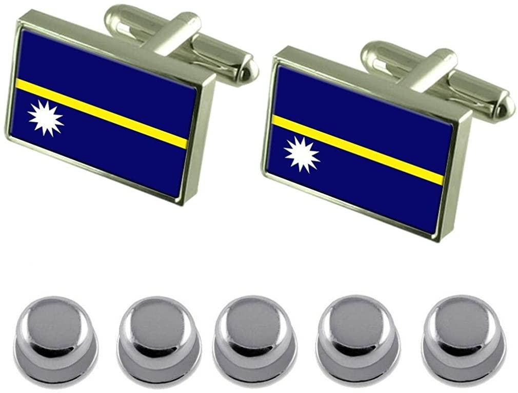 Select Gifts Shirt Dress Studs Nauru Flag Cufflinks